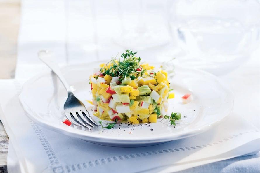 Krabtartaar met avocado en mango