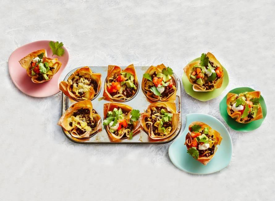 Mini-taco bites in muffinvorm