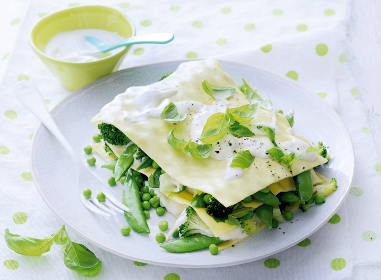 Open lasagne met groene groenten