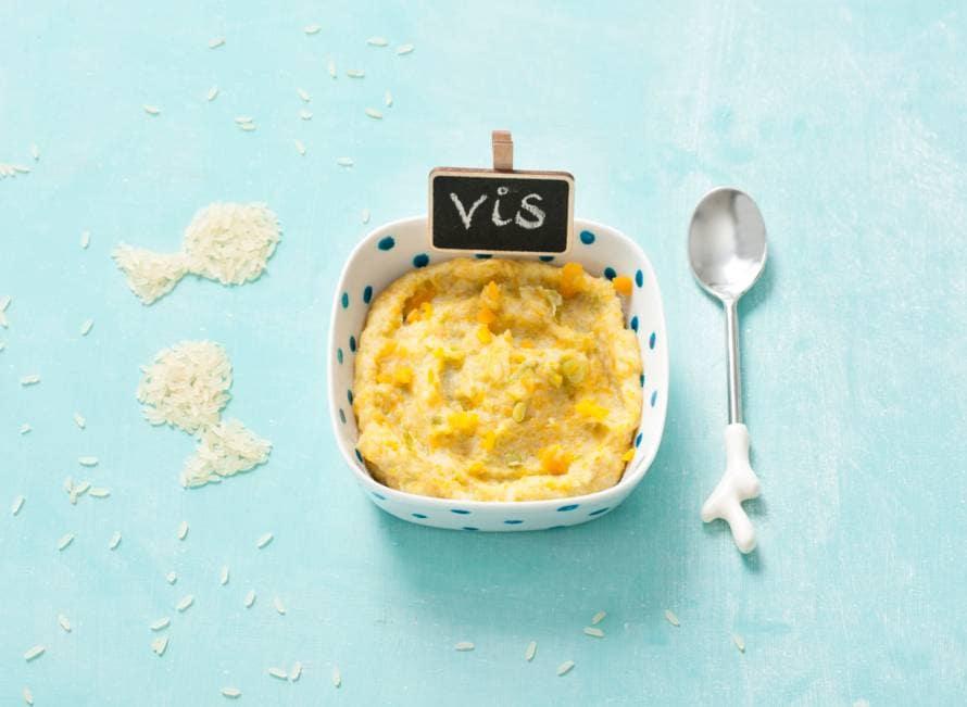 Opperdepop: baby's visschoteltje met groenten en rijst 7-9 mnd