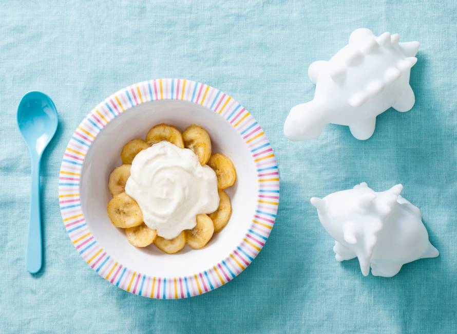 Opperdepop: gebakken banaan met vanillekwark 10-12 mnd