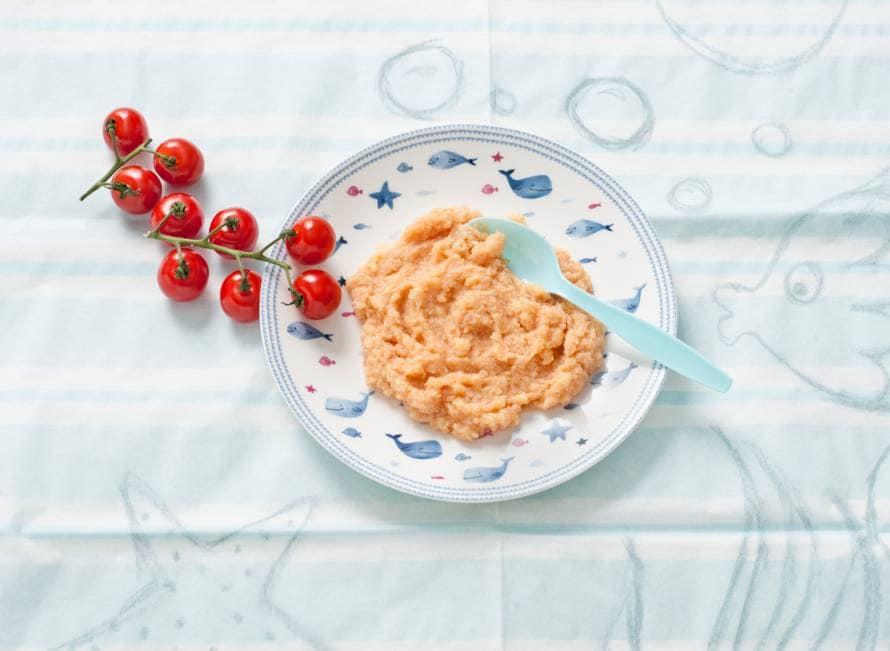Opperdepop: pasta met vis en tomaat 7-9 mnd