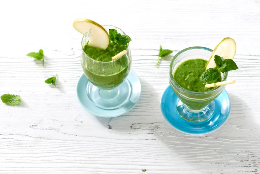 Peer-spinazie-gembersmoothie