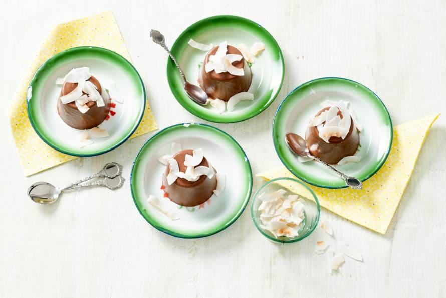 Chocolade-kokos panna cotta