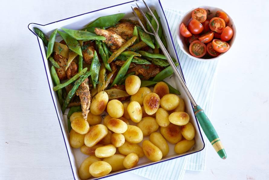 Provençaalse kip met groene groenten en krieltjes