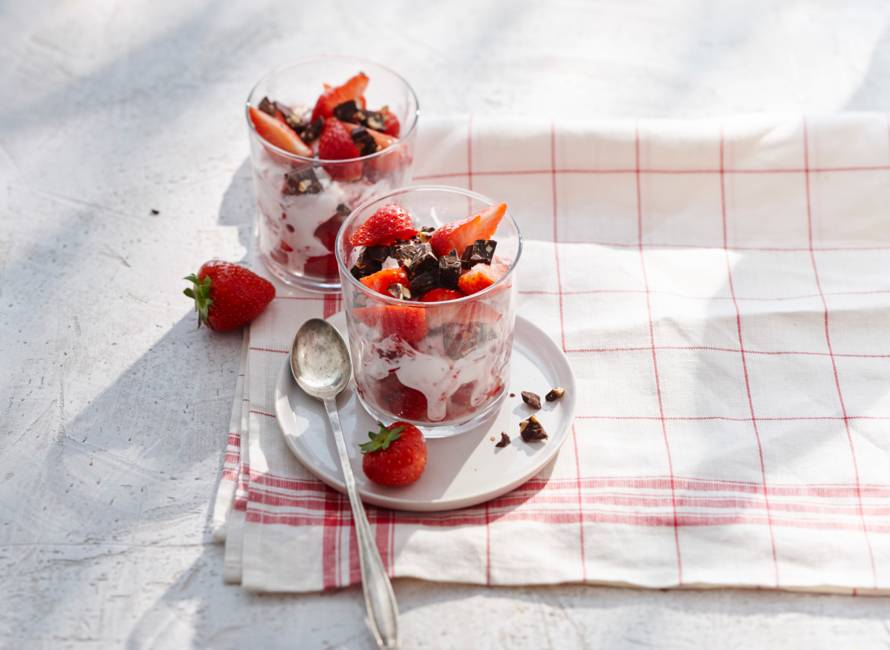 Aardbeien-yoghurtswirl