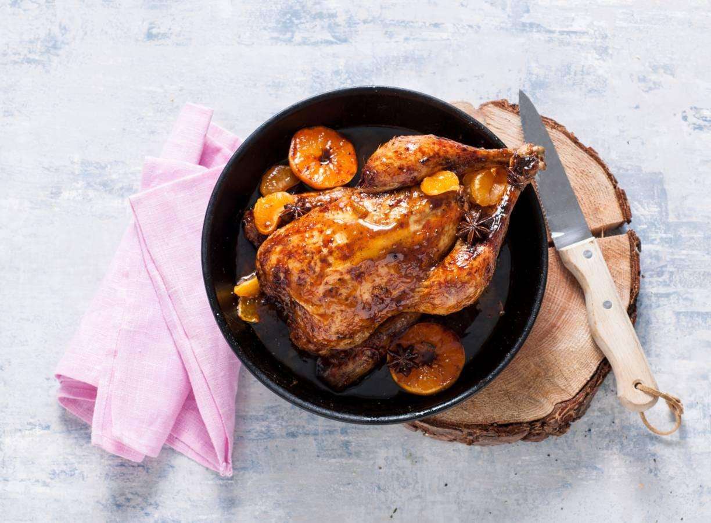 Geglaceerde kip met ahornsiroop en mandarijn