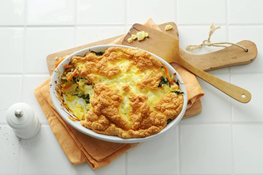 Frittata-soufflé met zoete aardappel