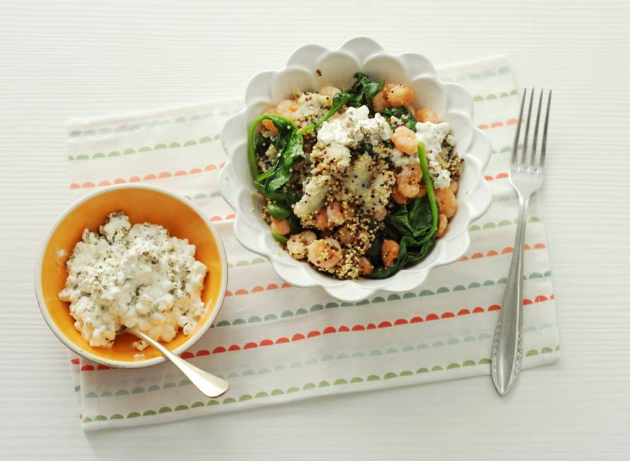 Quinotto met garnalen, spinazie en knolselderij