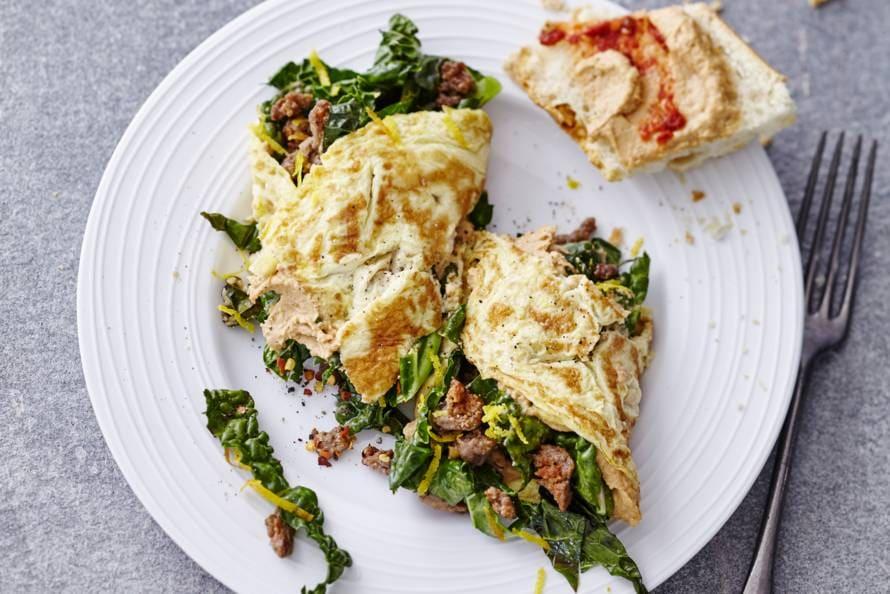 omelet met gehakt en cavolo nero - recept - allerhande - albert heijn