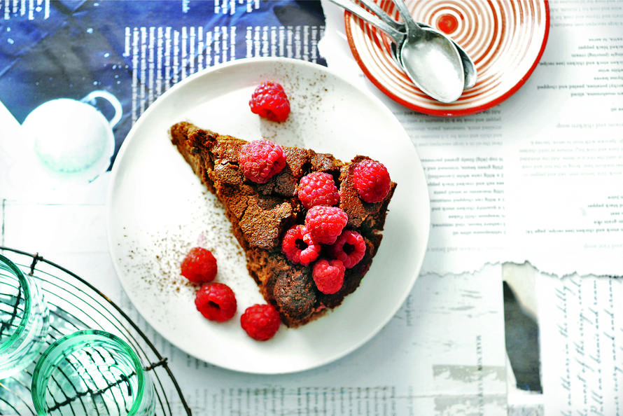 Donkere chococheesecake met frambozen