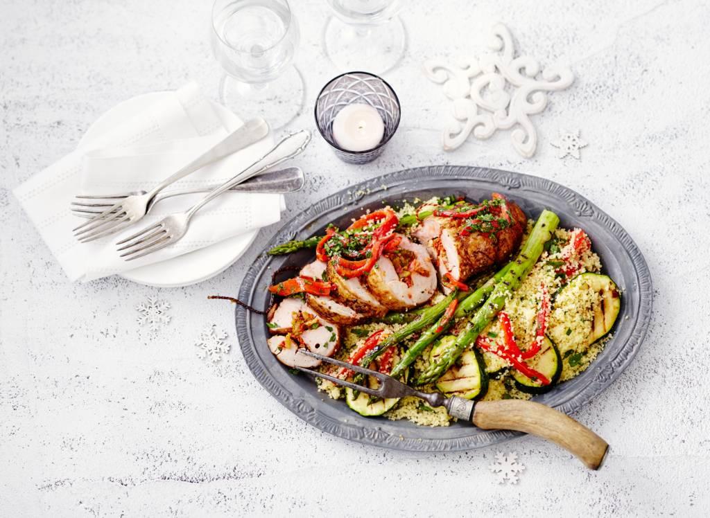 Spaans gekruide ibericohaas gevuld met chorizo en gegrilde paprika