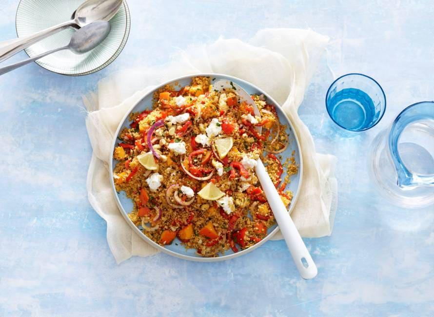 Couscous met kakifruit, geitenkaas en harissa