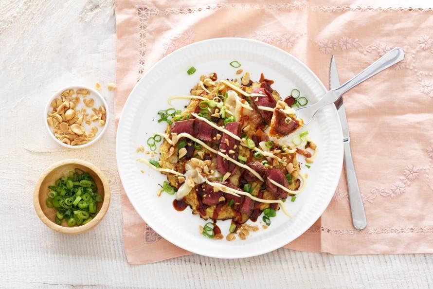 okonomiyaki met ossenhaas - recept - allerhande - albert heijn