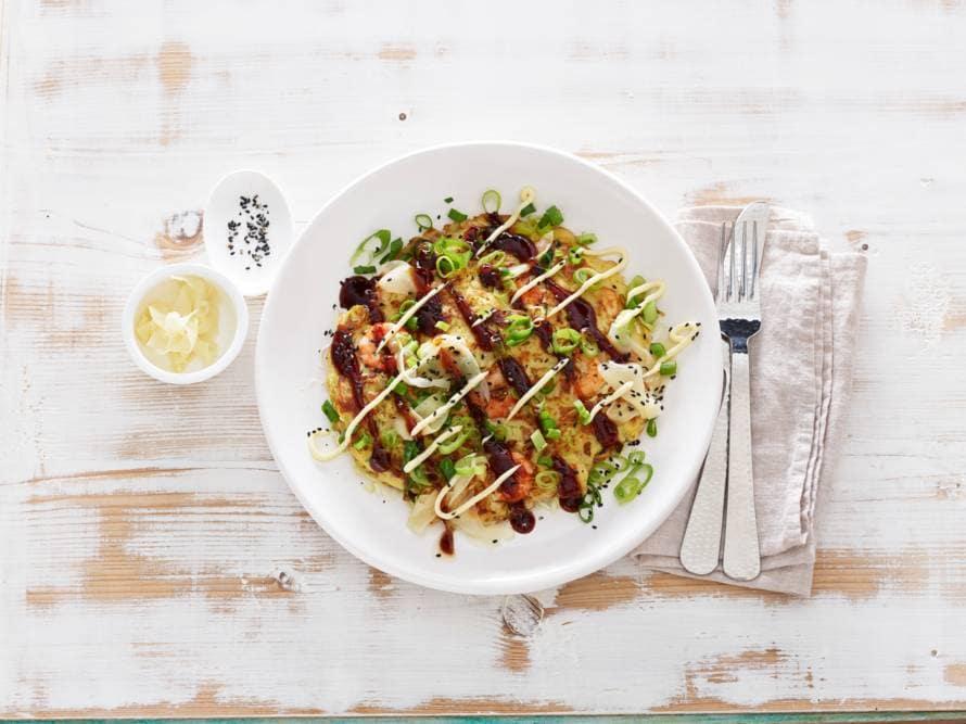 Okonomiyaki met garnalen