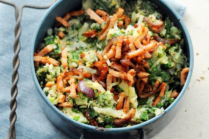 stamppot dubbele groenten met zoete aardappel - recept - allerhande