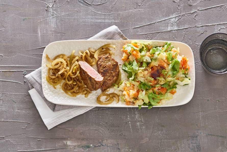 Steak de boeuf met dubbele groentestamp