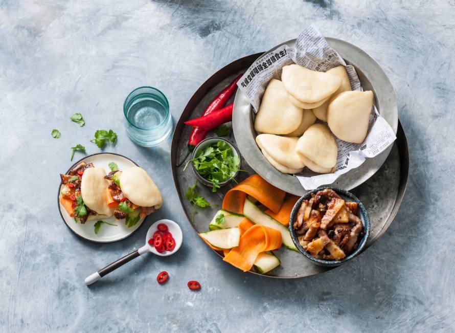 Steamed buns met char siu varkensvlees