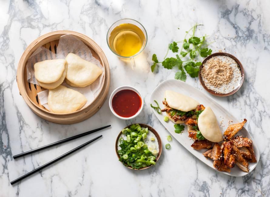 Steamed buns met Koreaanse kip