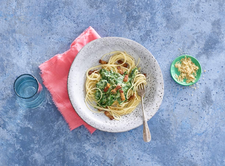 Romige spaghetti met pangrattato