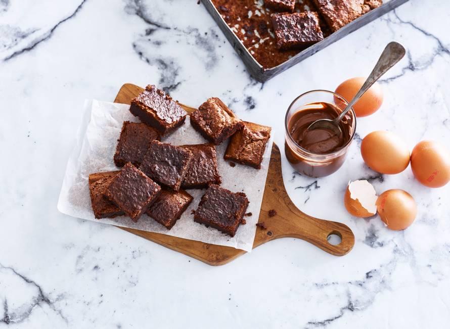 Twee-ingrediënten-brownies met nutella