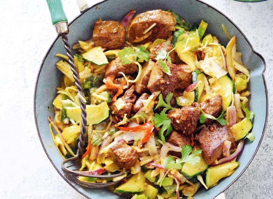 Groentecurry met rijst en biefstuk