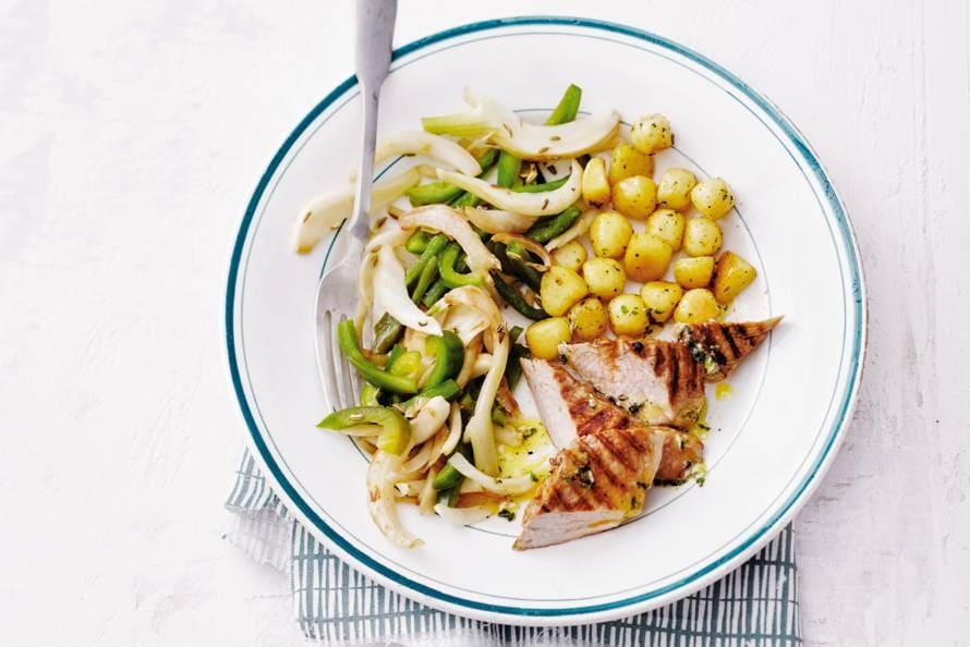 Gegrilde varkenshaas met krieltjes & gebakken groenten