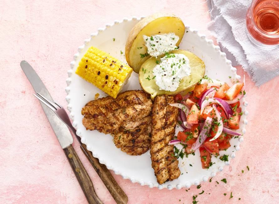 Gegrilde speklapjes met gepofte aardappel