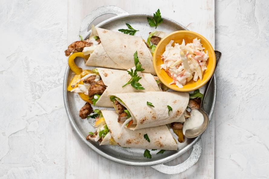 Wraps met gyros & appel-coleslaw