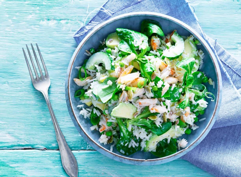 Aziatische rijstsalade met krab