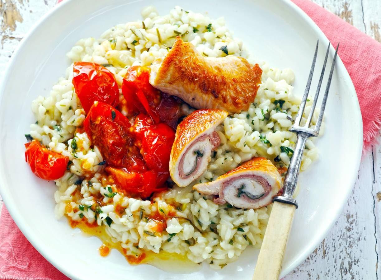 Kalkoensaltimbocca, risotto & gebakken tomaat