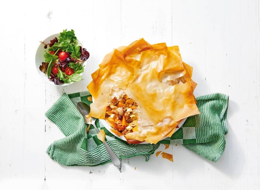 Marokkaanse quiche met tonijn, rozijnen & pompoenstukjes