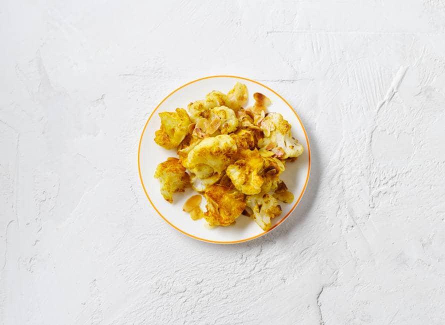Geroosterde bloemkool met kerrie en amandel