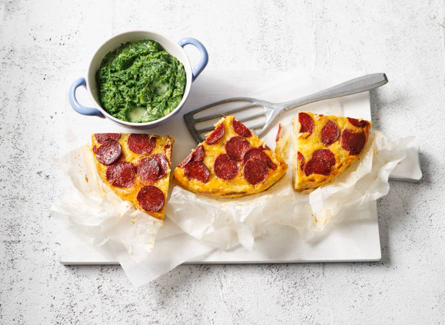 Spaanse aardappeltortilla en spinazie a la crème