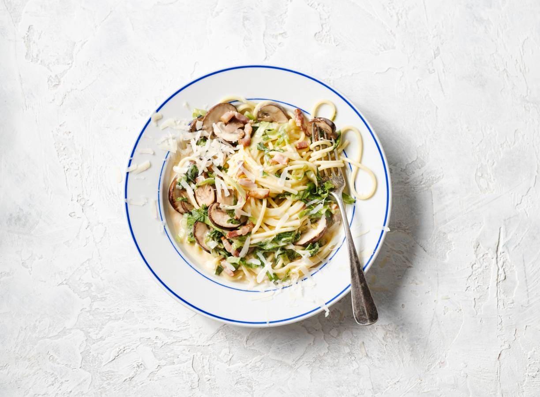 Spaghetti carbonara met andijvie