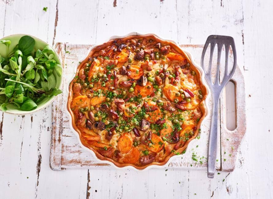 Quiche met kip & groente