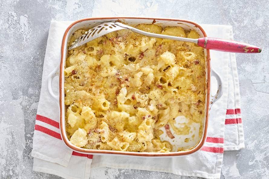 smeuïge mac & cheese met bloemkoolroosjes - recept - allerhande