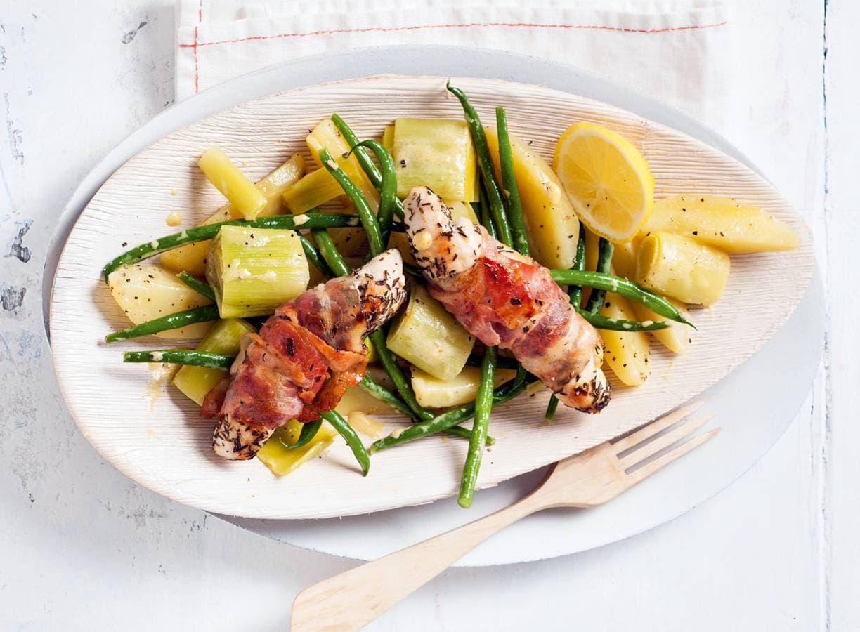 Franse kiprolletjes met spek en groenten