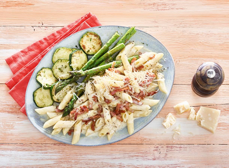 Pasta carbonara met groenten