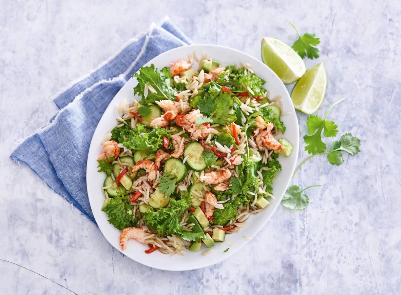 Aziatische salade met rivierkreeftjes