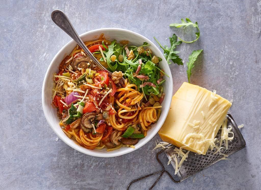 Verse spaghetti met groentesaus