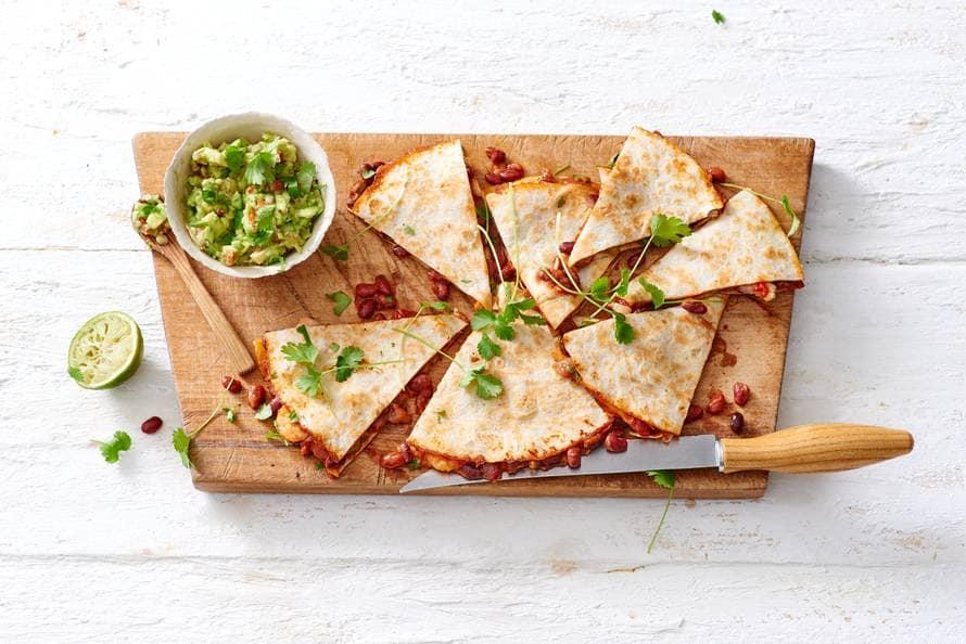Quesadilla's met garnalen en guacamole
