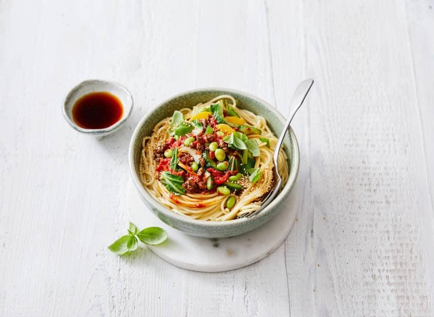 Aziatische spaghetti bolognese