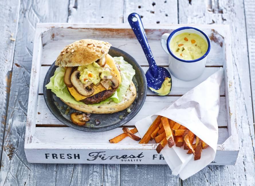 Cheeseburger met champignons & piccalillymayo
