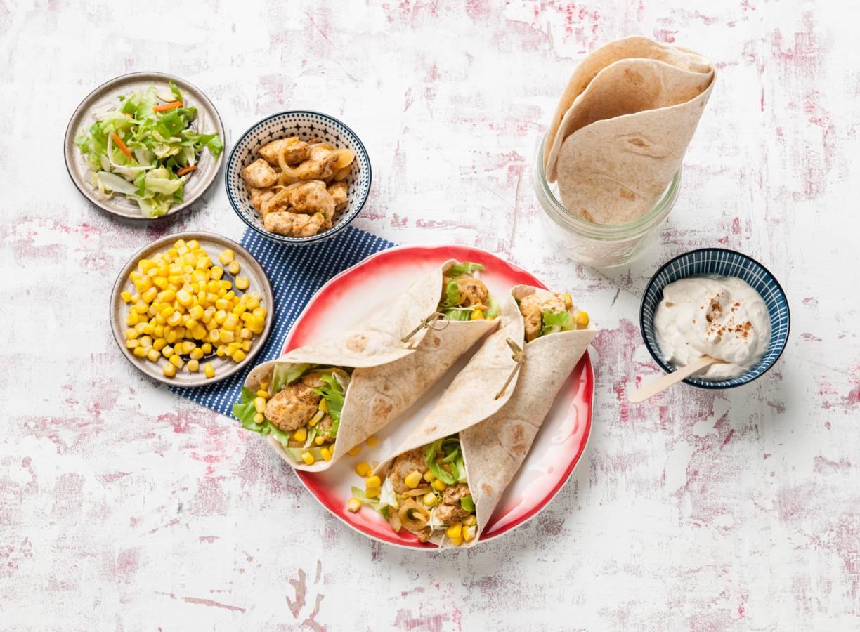 Mexicaanse wraps met kip en mais
