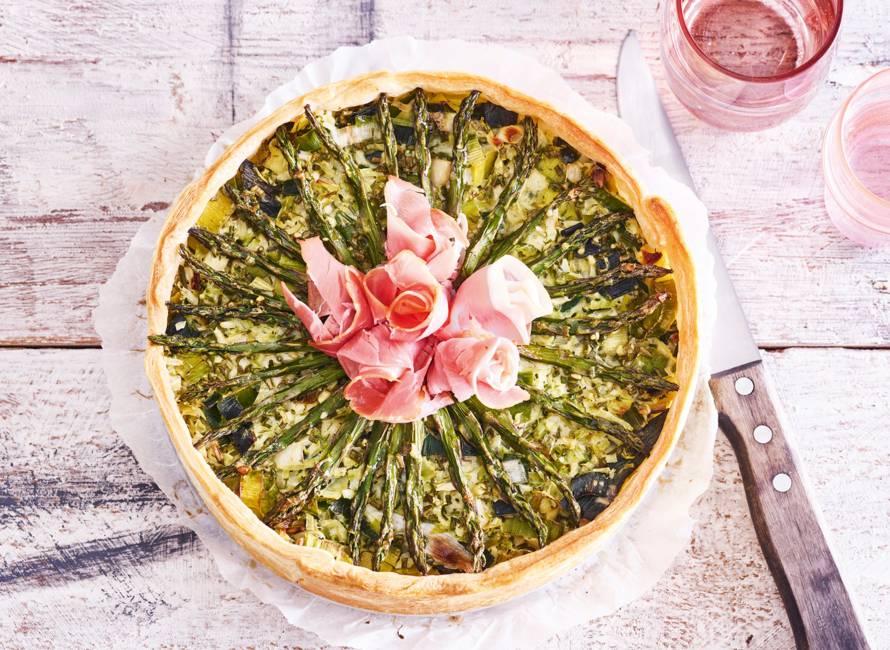 Aspergequiche met ham en broccoli