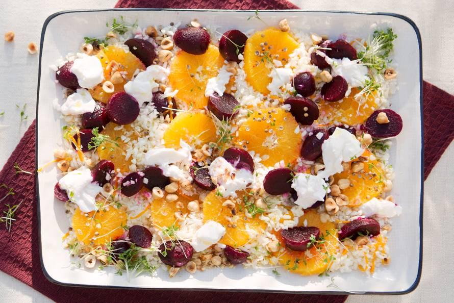 Friszoete sinaasappel-bietsalade