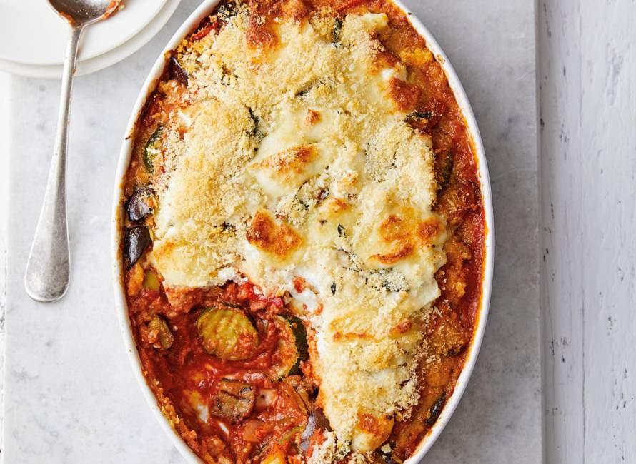 Snelle parmigiana met gegrilde groenten
