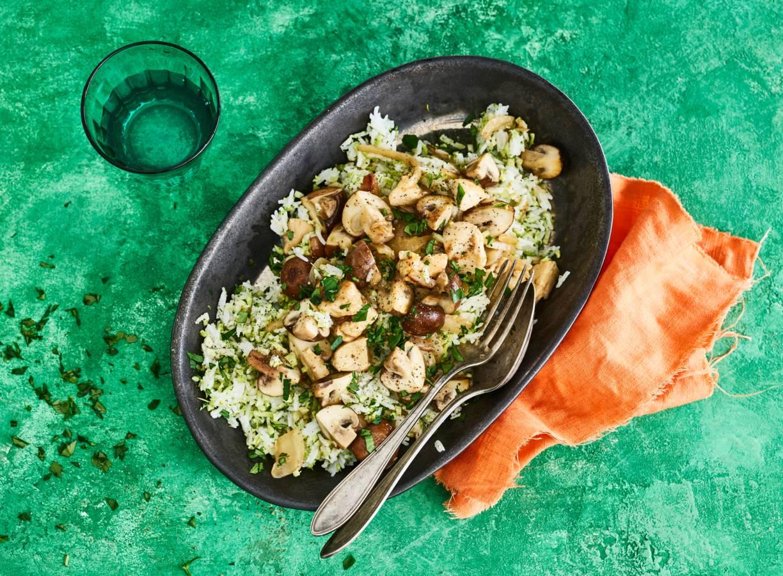 Kipragout met kastanjechampignons & broccolirijst