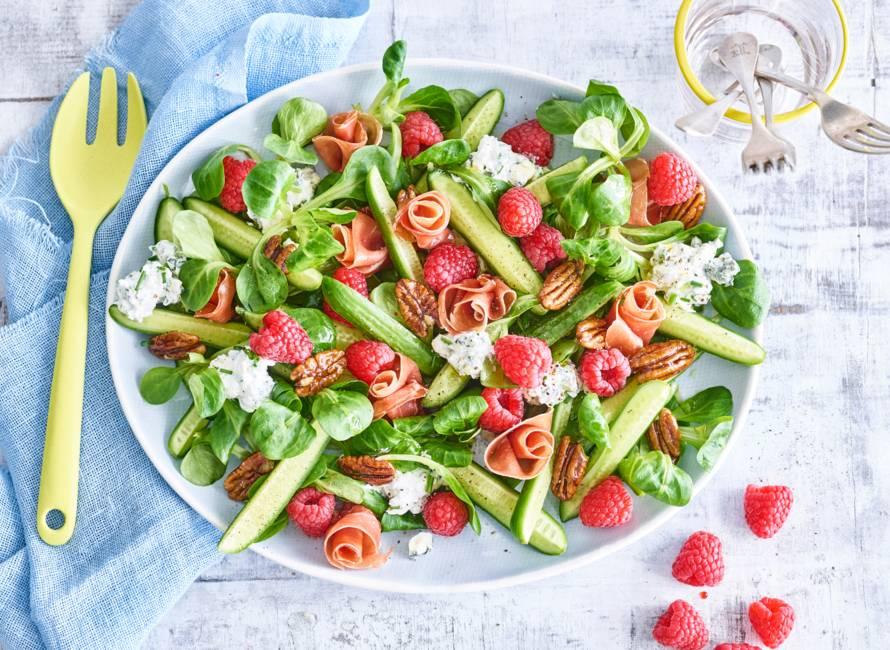 Frambozensalade met gorgonzola